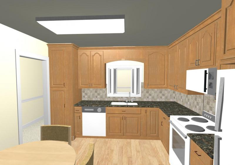CAD rendering shows the new pantry cabinet.